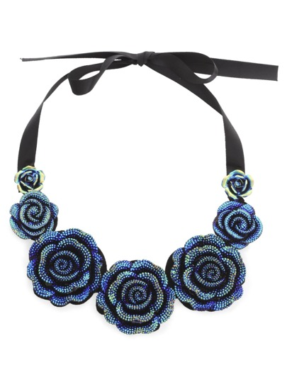 Blue Iridescent Rose Pendant Bib Necklace