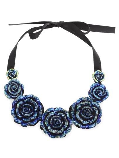 Blue Iridescent Rose Pendant Bib Necklace