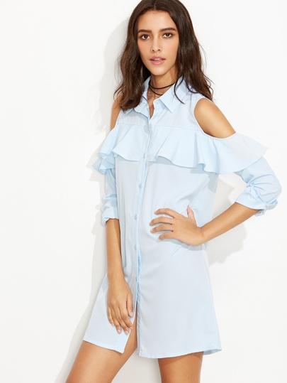 Blue Open Shoulder Button Front Ruffle Shirt Dress