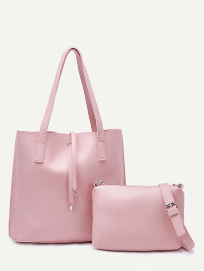 Pink Tote Bag With Crossbody Bag