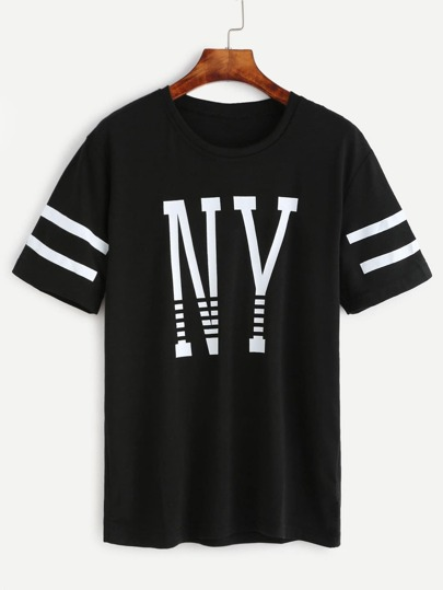 Slogan & Varsity Striped Print T-shirt