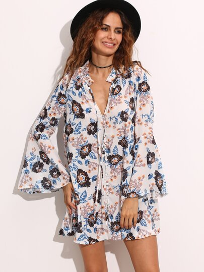 White Tie Neck Floral Print Bell Sleeve Dress