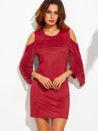 Red Faux Suede Laser Cut Trim Cold Shoulder Dress