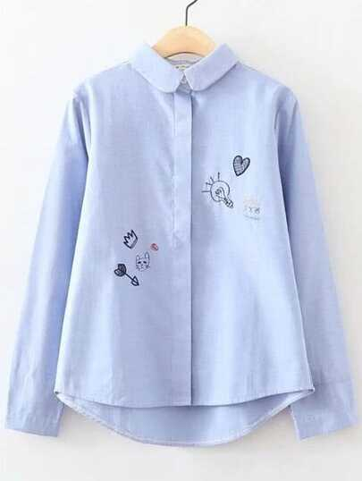 Cartoon Embroidery Curved Hem Blouse