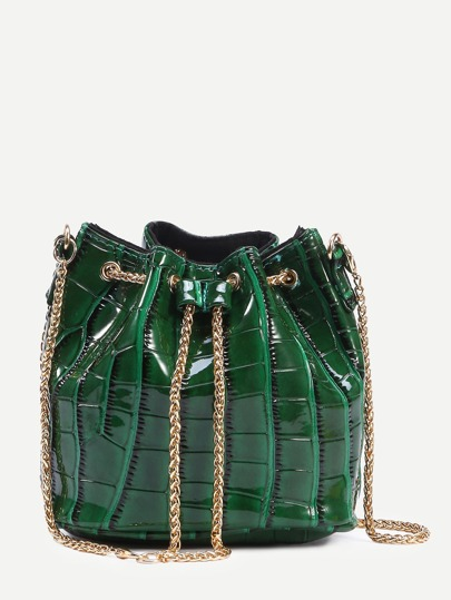 Green Crocodile Embossed Faux Patent Leather Chain Bucket Bag