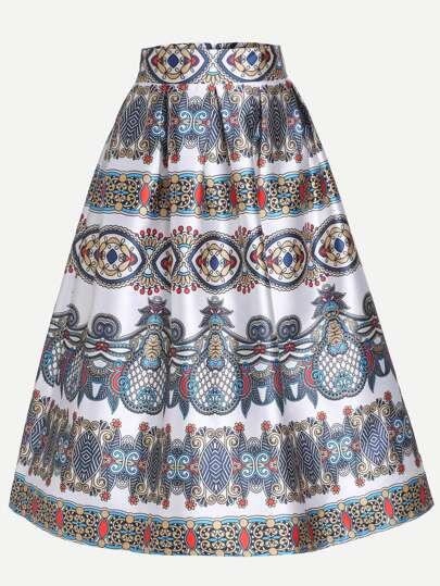 Vintage Print Box Pleated Skirt