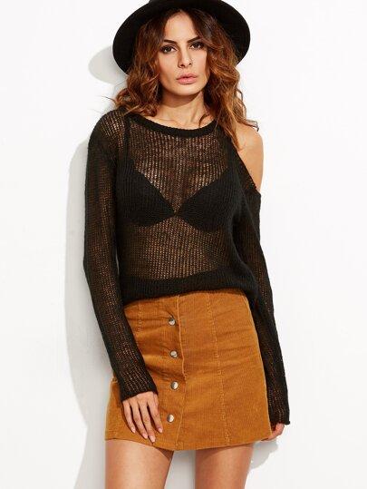 Black Asymmetric Open Shoulder Loose Knit High Low Sweater