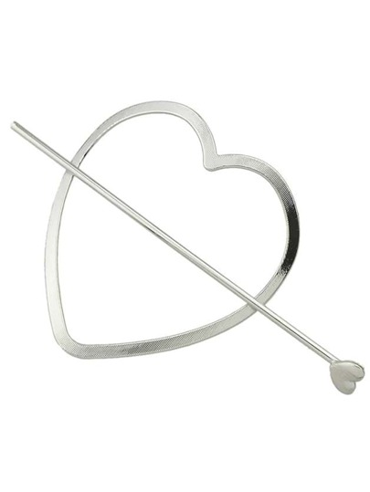 Silver Color Simple Heart Shape Hair Clip For Women