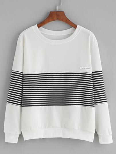 White Striped Patch Sweatshirt