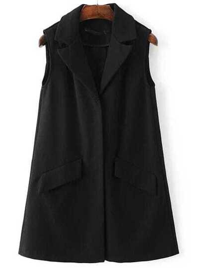 Black Hidden Button Shawl Collar Blazer Vest With Pockets