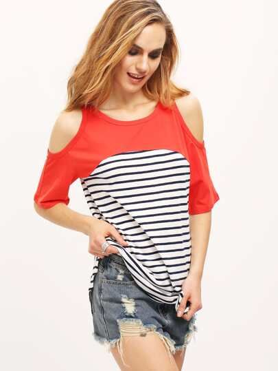 Orange Navy Stripe Cold Shoulder T-shirt