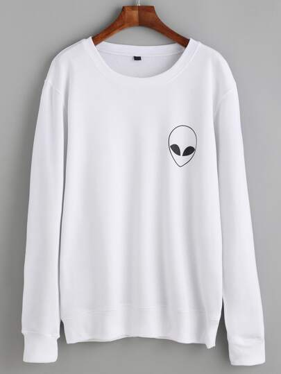 White Alien Print Long Sleeve Sweatshirt