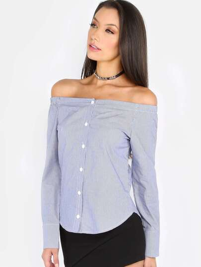 Off The Shoulder Stripe Shirt Top NAVY