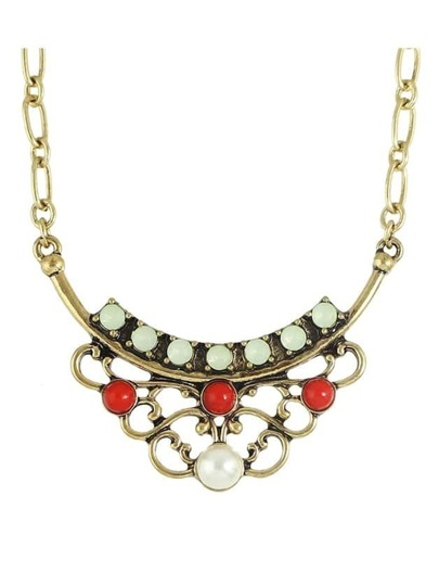 Vintage Imitation Pearl Flower Statement Pendant Necklace