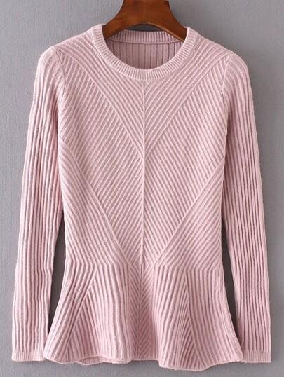 Pink Ruffle Hem Ribbed Sweater