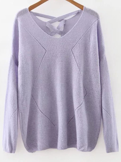 Purple V Neck Criss Cross Back Knitwear