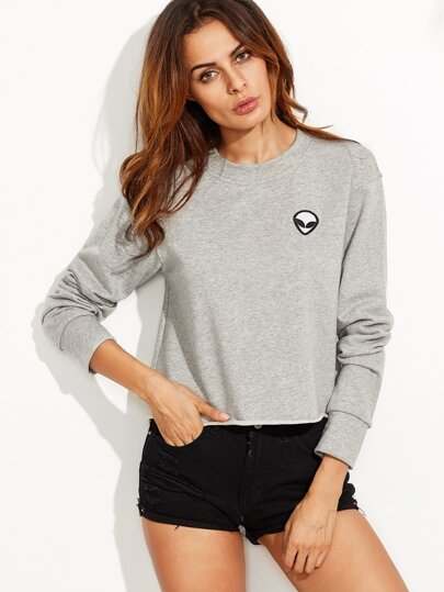 Heather Grey Raw Hem Sweatshirt With Embroidered Alien Patch