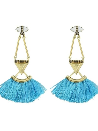 Blue Tassel Chain Long Drop Earrings