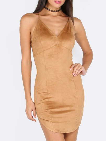 Khaki Spaghetti Strap Criss Cross Back Bodycon Dress