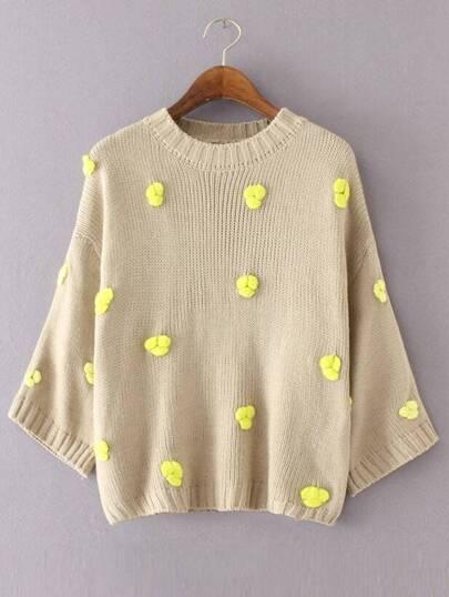Khaki Flower Embellished Drop Shoulder Sweater