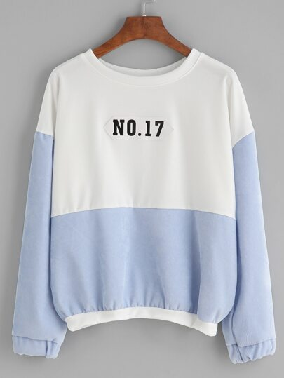 Color Block Number Patch Drop Shoulder Sweatshirt