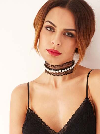 Black Faux Pearl Beaded Lace Choker
