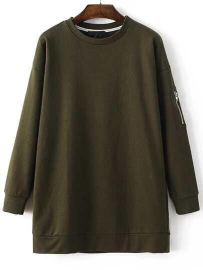 Army Green Long Sleeve Sweatshirt Dress With Zipper