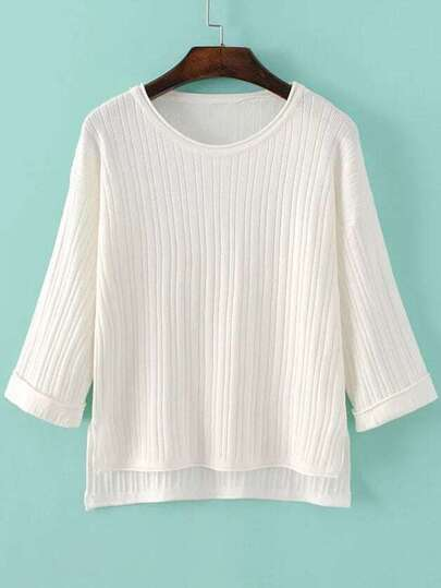 White Drop Shoulder Ribbed Dip Hem Knitwear