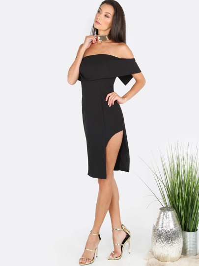 Off the Shoulder Slit Dress BLACK