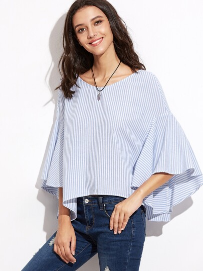 Striped Tied V Back Oversized Fluted Sleeve Top