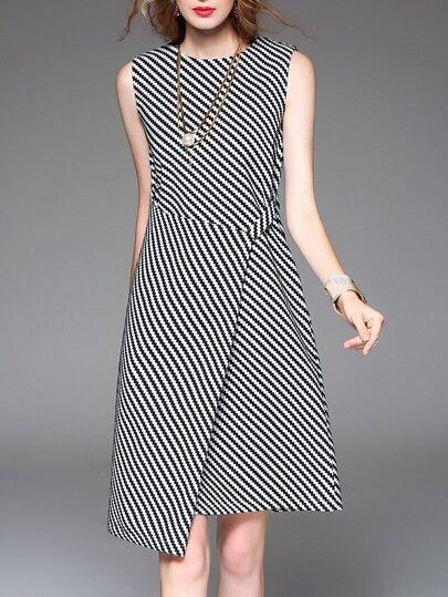 White Black Chevron Striped Asymmetric Dress
