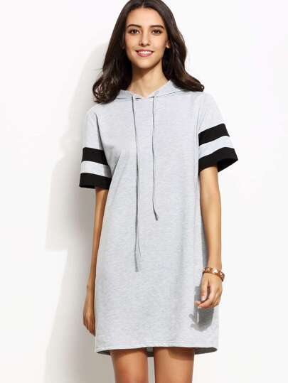 Heather Grey Striped Sleeve Hooded Sweatshirt Dress