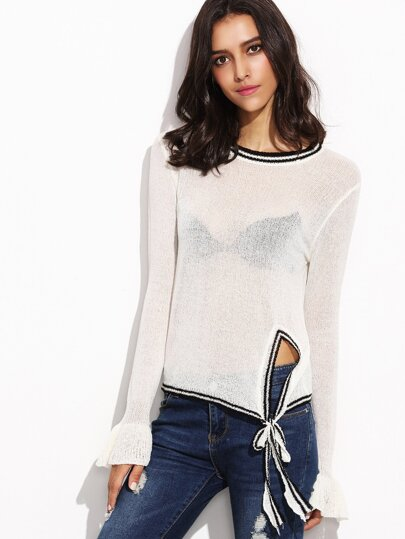 White Striped Tie Front Sweater