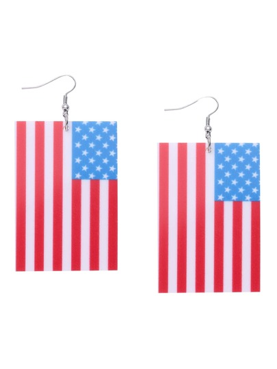 USA Flag Rectangle Drop Earrings