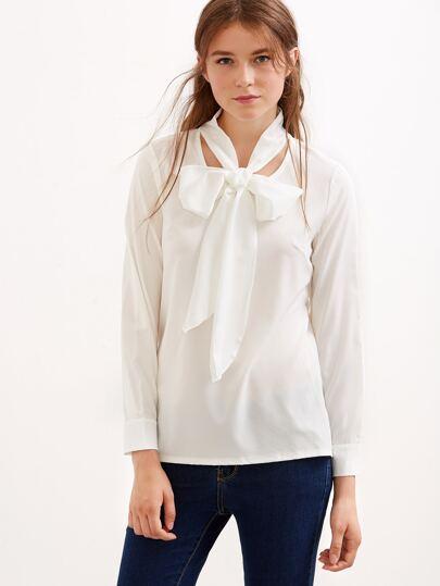 White Bow Tie Neck Blouse