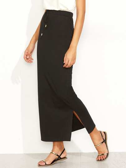 Drawstring Waist Slit Pencil Skirt
