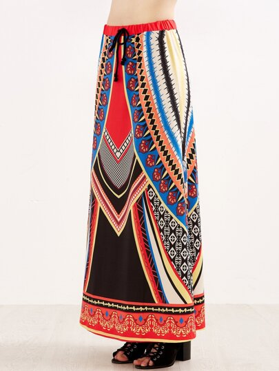 Tribal Print Drawstring Waist Maxi Skirt