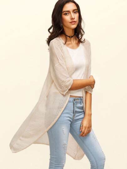 Apricot Three Quarter Sleeve Long Cardigan