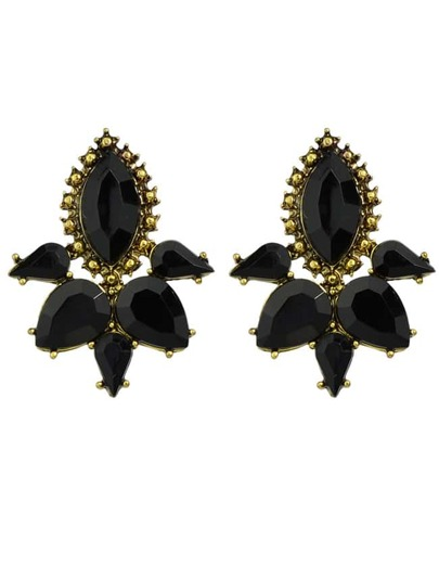 Black Gemstone Flower Stud Earring