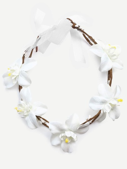 White Flower Random Tie Crown Headband