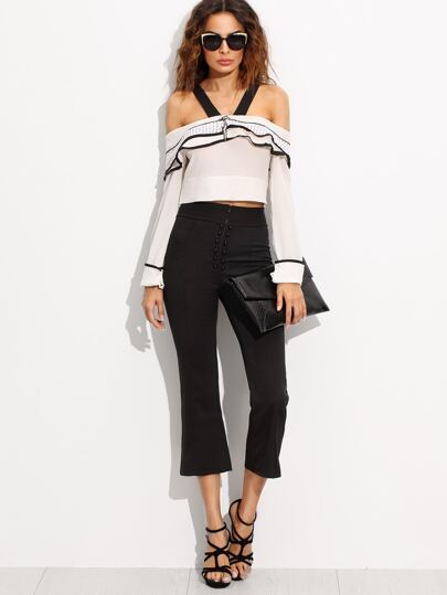 Contrast Trim Cold Shoulder Top With High Waist Pants