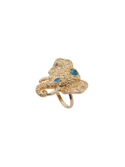 Gold Vintage Carved Elephant Head Ring
