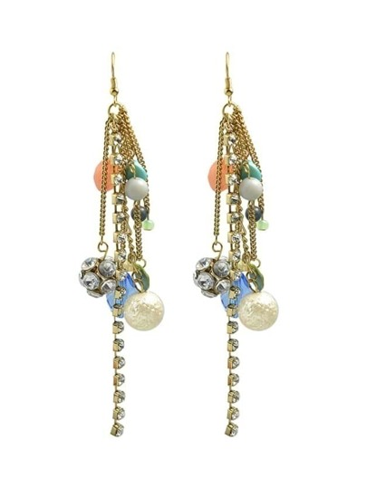 Latest Design Colorful Beads Rhinestone Long Chain Earrings