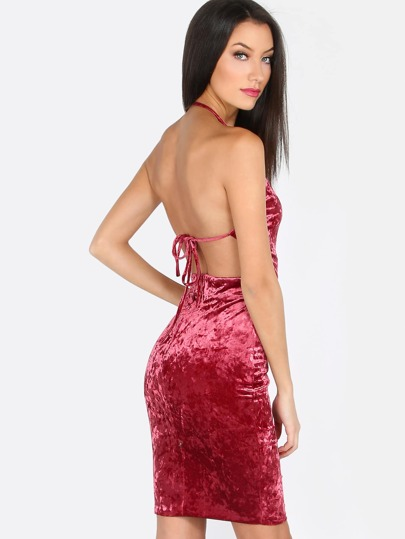 Crushed Velvet Surplice Dress WINE
