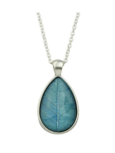 Blue Simple Model Rhinestone Leaf Shape Pendant Necklace