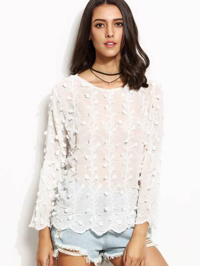 White Embroidered Appliques Keyhole Scalloped Chiffon Blouse