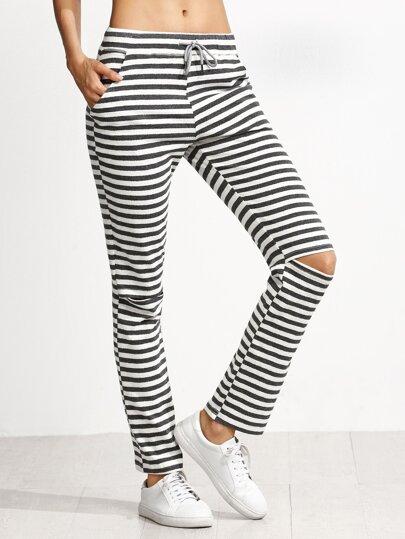 Pantalones de rayas rotos cordón - gris blanco