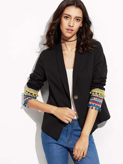 Black Pom Pom Trim Embroidered Cuff Blazer