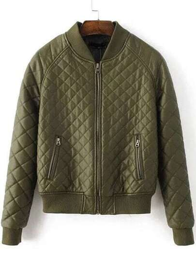 Army Green Quilted Zipper Pocket PU Jacket