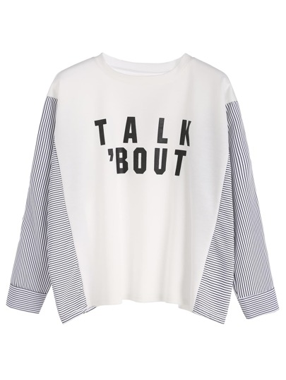 White Letter Print Contrast Striped Trim Sweatshirt